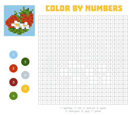 coloration: Color by number, education game for children. Fruits and vegetables, strawberry. Coloring book with numbered squares Illustration