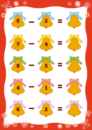 Counting Game for Preschool Children. Educational a mathematical game. Count the numbers in the picture and write the result. Subtraction worksheets