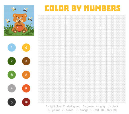 coloration: Color by number, education game for children. Cute bear character. Coloring book with numbered squares