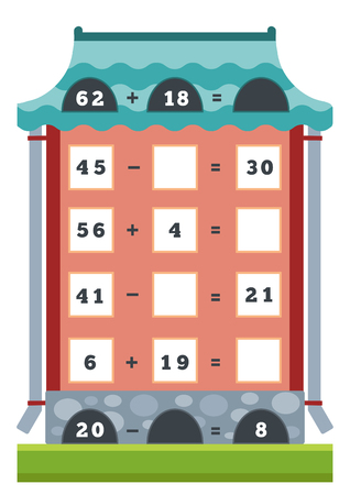 division: Counting Game for Preschool Children. Educational a mathematical game. Count the numbers in the picture and write the result.Tasks for multiplication and division