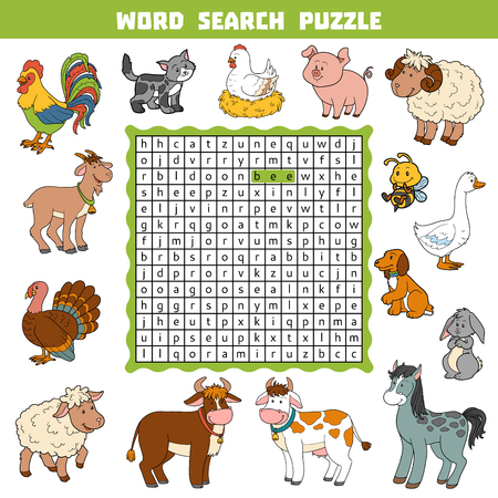 english village: Vector color crossword, education game for children about farm animals. Word search puzzle