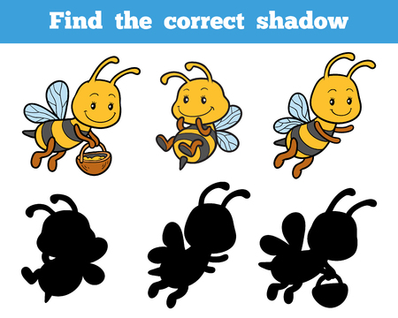 correct: Find the correct shadow, education game for children about bees