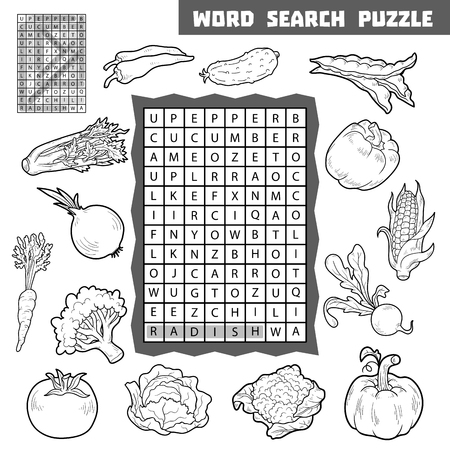 word game: Vector black and white crossword, education game for children about vegetables. Word search puzzle