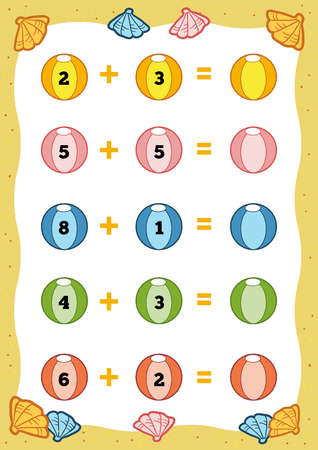 mathematic: Counting Game for Preschool Children. Educational a mathematical game. Count the numbers in the picture and write the result. Addition worksheets