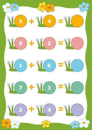 enumerate: Counting Game for Preschool Children. Educational a mathematical game. Count the numbers in the picture and write the result Illustration