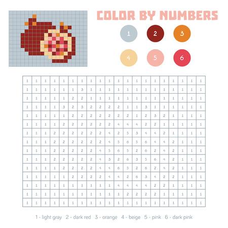 Color Por Número, Juego Educativo Para Niños. Frutas Y Verduras ...