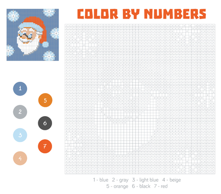 Color by number, education game for children. Santa Claus face. Coloring book with numbered squares