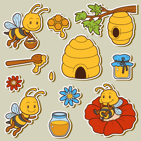 Set of cute animals and objects, vector family of bees. Color stickers with characters bees, beehives and honey