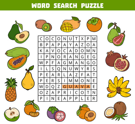 brainteaser: Vector color crossword, education game for children about fruits. Word search puzzle Illustration