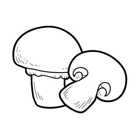 champignon: Coloring book for children. Edible mushrooms, champignon Illustration