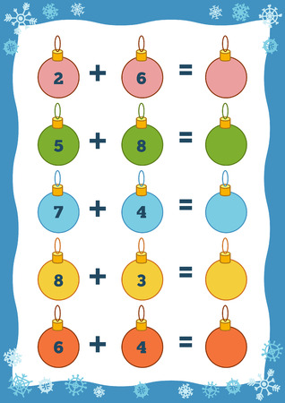 enumerate: Counting Game for Preschool Children. Educational a mathematical game. Count the numbers in the picture and write the result. Addition Christmas worksheets Illustration