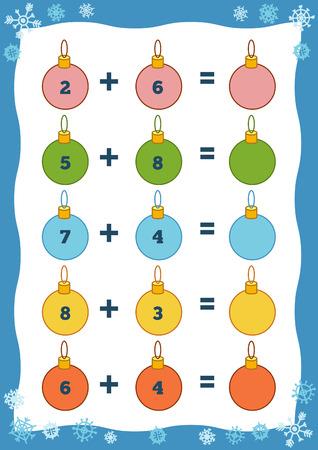 Counting Game voor kleuters. Educatief een wiskundig spel. Tel de getallen in de afbeelding en schrijf het resultaat. Toevoeging Kerstmis werkbladen
