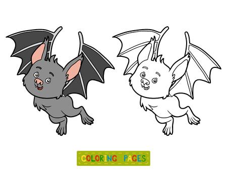 niños negros: libro para colorear para los niños, Bat Vectores