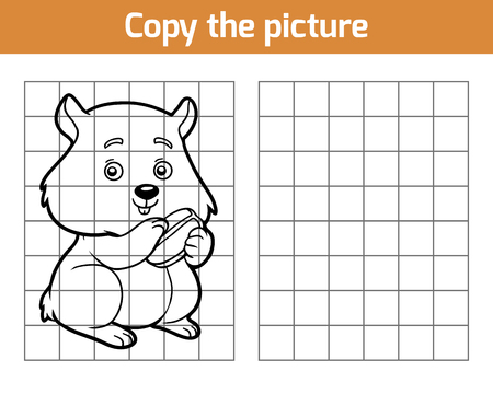 copies: Copy the picture, education game for children, Hamster Illustration