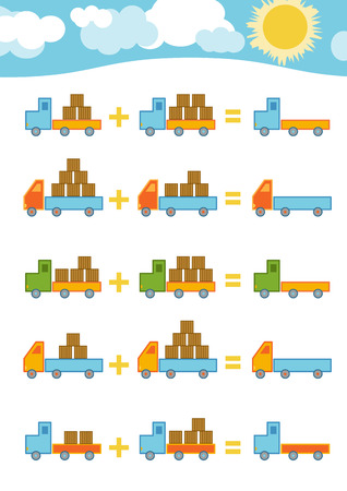 cartoon child: Counting Game for Preschool Children. Educational a mathematical game. Count the numbers in the picture and write the result. Addition worksheets