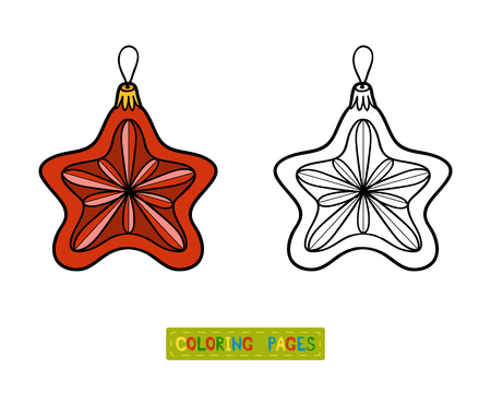 coloration: Coloring book for children, Christmas tree toy, star