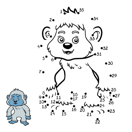 Numbers game, education dot to dot game for children, Yeti