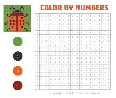 Color by number, education game for children. Coloring book with numbered squares, ladybug