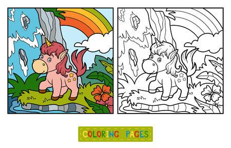 Coloring book for children, fairy unicorn and rainbow