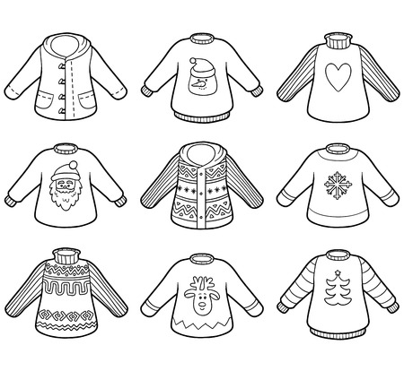 colorless: Vector colorless set of sweaters, collection of Christmas pullovers