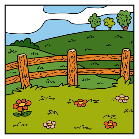 Vector nature illustration, color background, pasture, field and fence Vetores