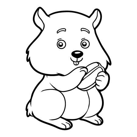 Coloring book for children, Hamster Vettoriali