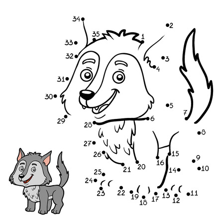 Numbers game, education dot to dot game for children, Wolf