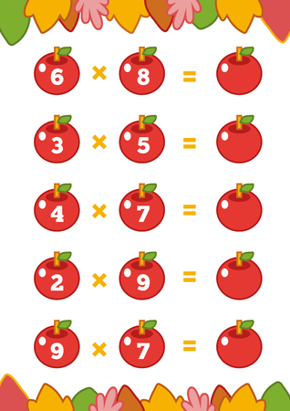 Counting Game for Preschool Children. Educational a mathematical game. Count the numbers in the picture and write the result. Multiplication worksheets