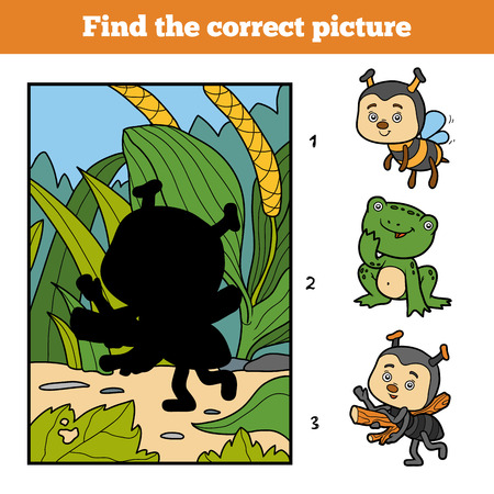 children background: Find the correct picture, education game for children. Little ant and background