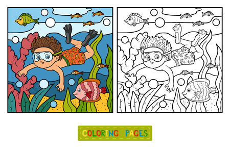 少年は海で泳いで、子供のための塗り絵