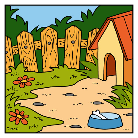doghouse: Vector nature illustration, color background, backyard and doghouse Illustration