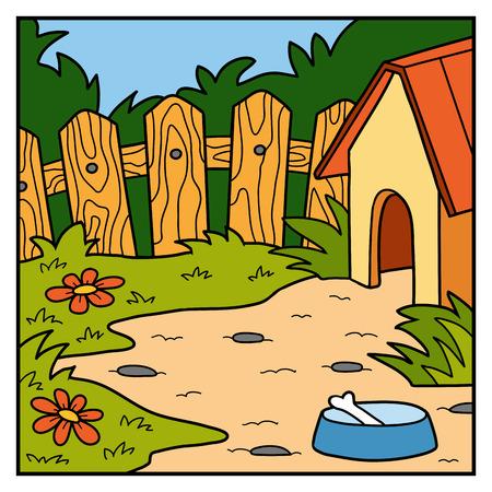backyard: Vector nature illustration, color background, backyard and doghouse Illustration
