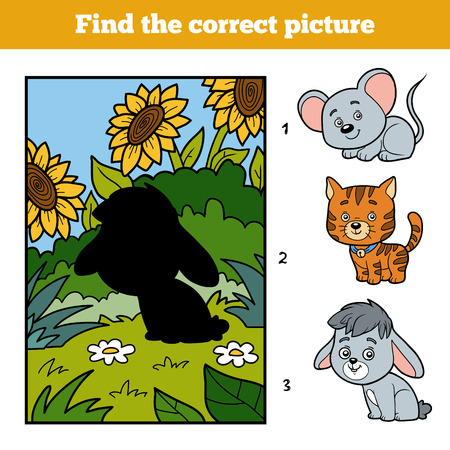 background picture: Find the correct picture, education game for children. Little rabbit and background