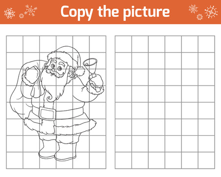 children santa claus: Copy the picture, education game for children. Santa Claus and bell
