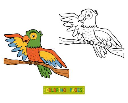 children book: Coloring book for children, Parrot Illustration