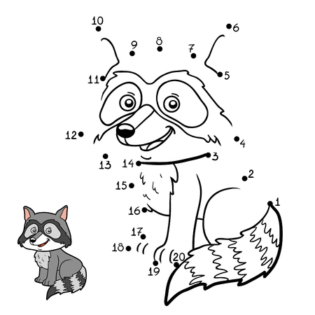 Numbers game, education dot to dot game for children, Raccoon Illustration
