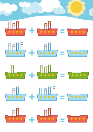 Counting Game for Preschool Children. Educational a mathematical game. Count the numbers in the picture and write the result. Addition worksheets