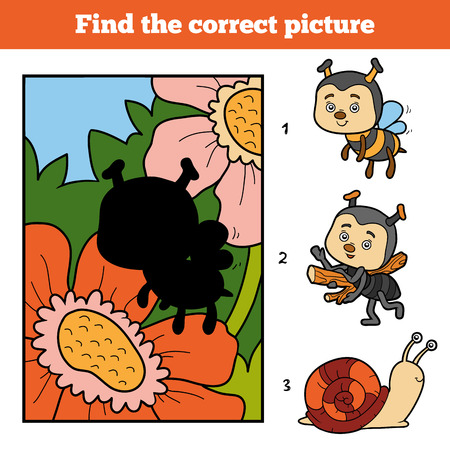 background picture: Find the correct picture, education game for children. Little bee and background