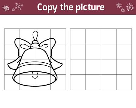actividad: Copiar la imagen, juego de la educación para los niños. juguetes de Navidad, la campana Vectores