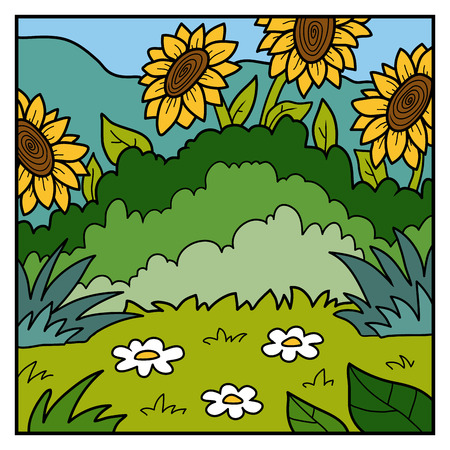 promenade: Vector nature illustration, color background, meadow with sunflowers