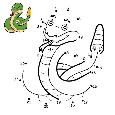 play poison: Numbers game, education dot to dot game for children, Rattlesnake