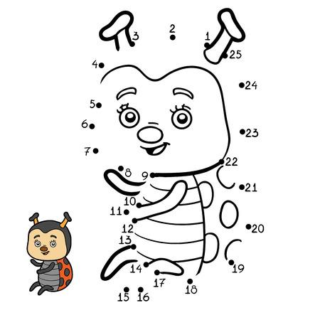 secret number: Numbers game, education dot to dot game for children, Ladybug