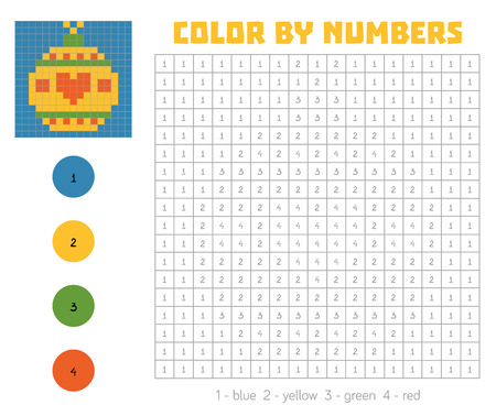 secret number: Color by number, education game for children. Coloring book with numbered squares, Christmas tree toy, ball