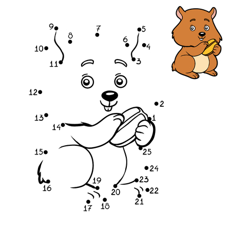 Numbers game, education dot to dot game for children, Hamster