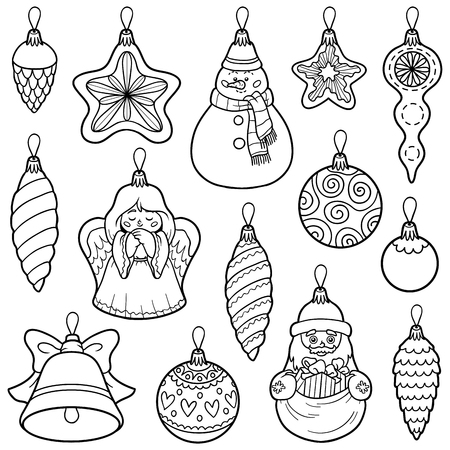 lump: Vector colorless set of Christmas tree toys Illustration
