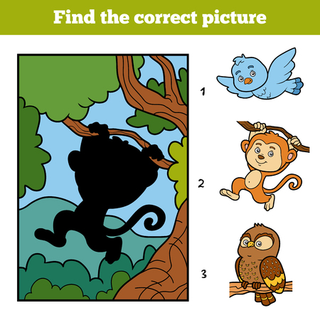 background picture: Find the correct picture, education game for children. Little monkey and background