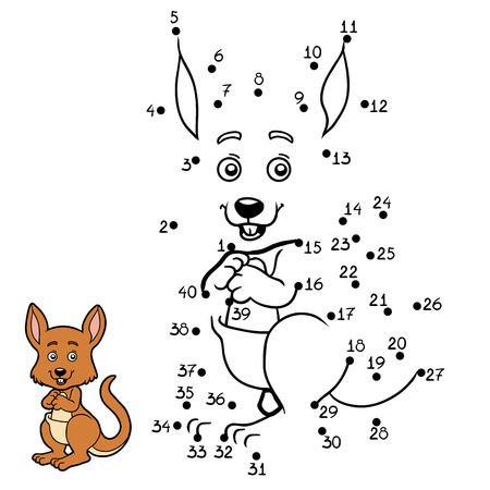 Numbers game, education dot to dot game for children, Kangaroo