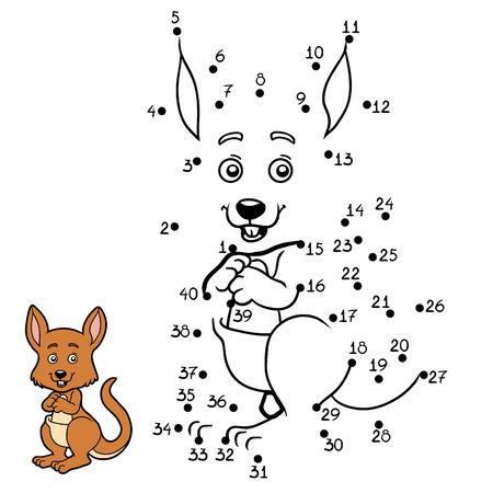 Numbers game, education dot to dot game for children, Kangaroo