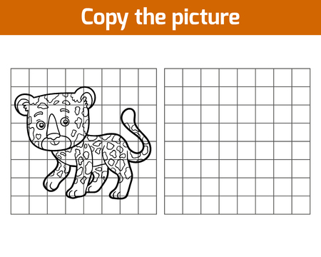 undomestic: Copy the picture, education game for children, Jaguar Illustration
