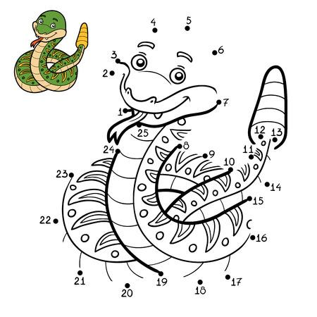 rattlesnake: Numbers game, education dot to dot game for children, Rattlesnake